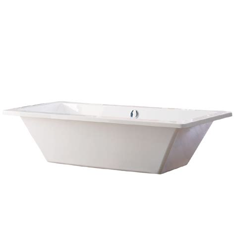 center drain bathtubs shop giagni tella white acrylic rectangular pedestal