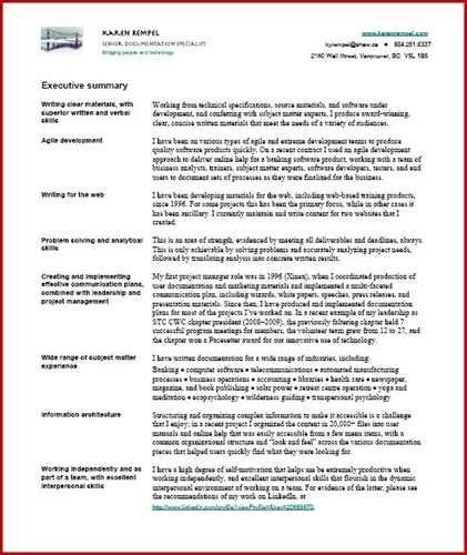 Resume Executive Summary by No Response To Resume Exles Executive Summary