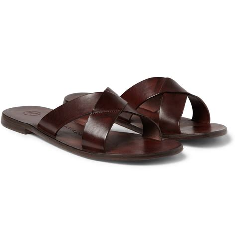 brown leather sandals lyst alvaro leather sandals in brown for