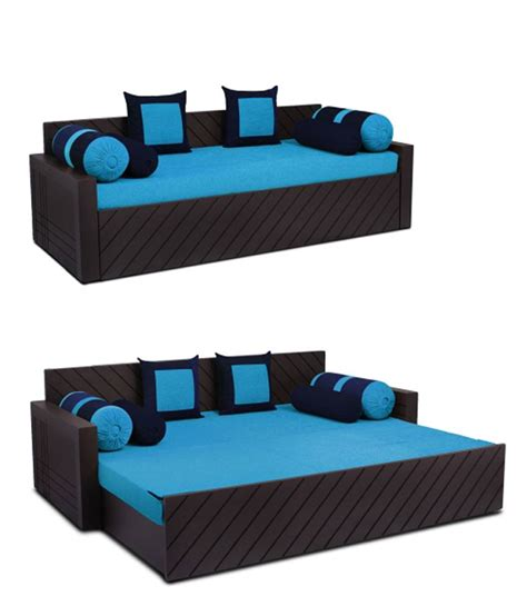 auspicious libford sky blue sofa bed with two cushions