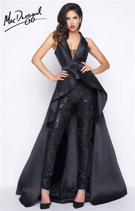 Mac Formal Black Collection by Mac Duggal 80628r V Neck Sequined Pantsuit With Satin