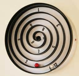 cool wall clock with balls instead aspiral clock