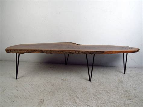 Live Edge Table Legs by Live Edge Slab Table With Hairpin Legs At 1stdibs