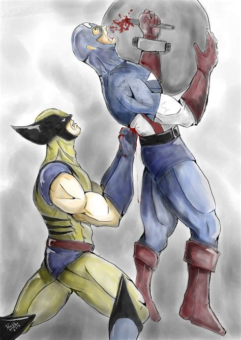 captain america vs wolverine wallpaper wolverine vs captain america by romulo moreira on deviantart
