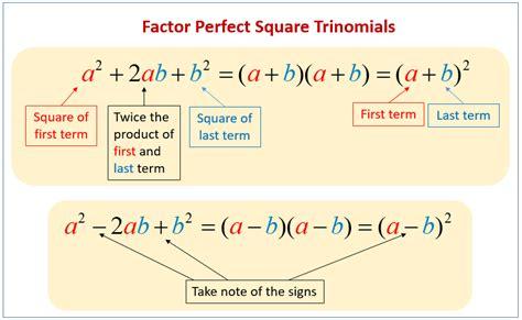 Factoring Square Trinomials Worksheet