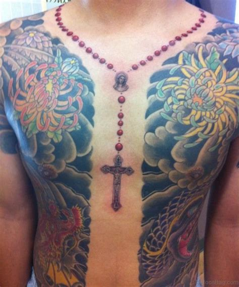 50 best rosary tattoos on chest