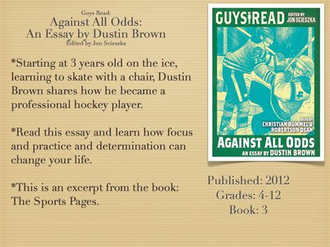 Pdf Against All Odds By Dustin Brown by Reading Machine Guys Read Against All Odds