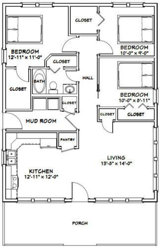 one bedroom house plans details about 28x36 house 3 bedroom 2 bath 1 008 sq 16556 | 8a5f4bc7ab36d90a00c501eaf3b24258