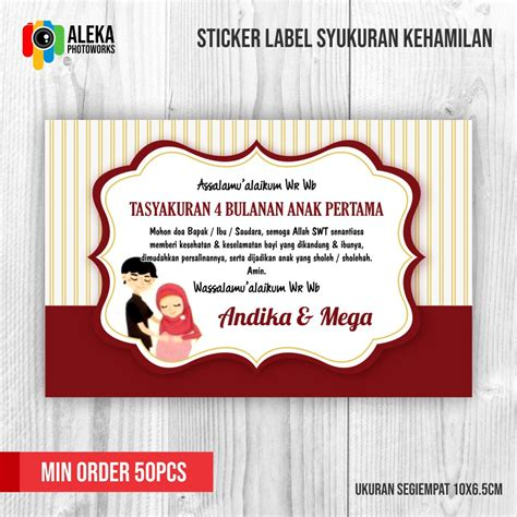sticker label syukuran kehamlan 4 bulanan shopee indonesia