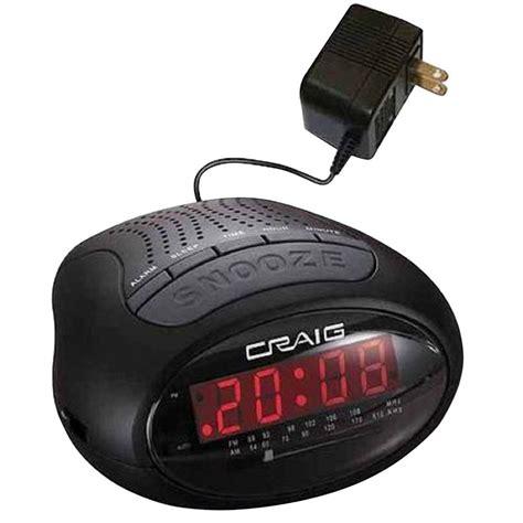 craig 0 6 in led pll am fm dual alarm clock radio cr45329b the home depot