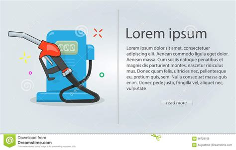 Flyer Template Gas Station Vector Illustration Cartoon Style For The Web Site Modern Style For Gas Station Website Template