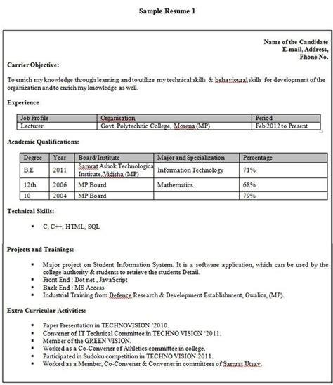 Student Resume Format by Student Resume Format For Cus