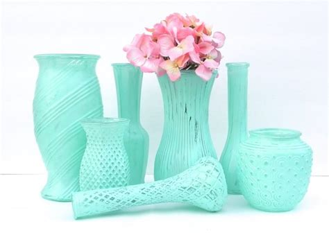 shabby chic vases in minty aqua set of 7 vases vase collection for weddings showers