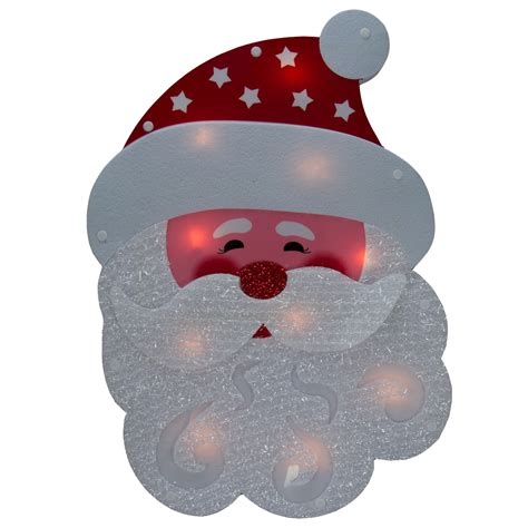 lighted holiday santa or snowman winter wall window hanger