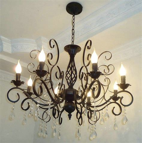 Black Metal Chandelier Black Metal Europe Style Crytal Pendant Black Metal Chandeliers With 8 Candle E14 Bulb Base In Pendant