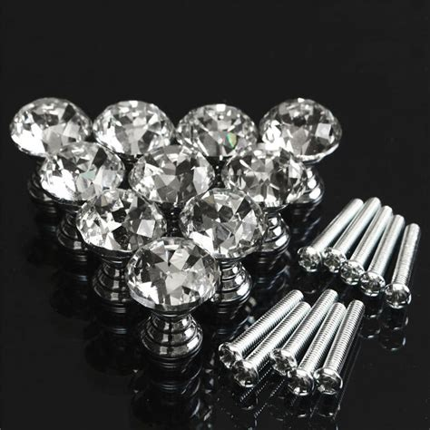10 pcs round stainless steel cabinet knobs drawer handles mtgather 10 pcs 20mm crystal glass clear cabinet knob