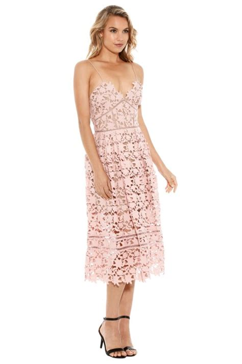 Azalea Dress azalea lace midi dress in pale pink by self portrait for rent