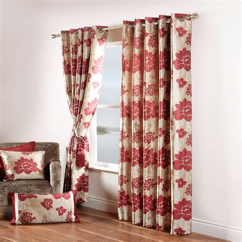 floral red curtains scatter box wisteria floral jacquard eyelet curtains ebay