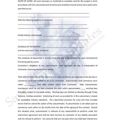 subcontractor template free subcontractor form crafts