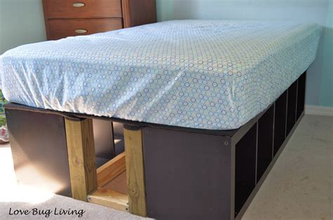 ikea bed storage hack love bug living ikea expedit hack platform bed
