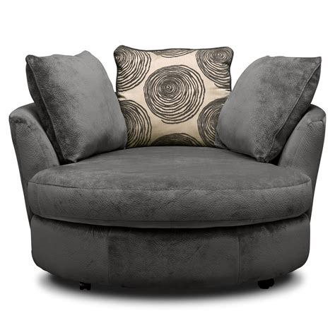 Cordoba Gray Upholstery Swivel Chair Value City Furniture Swivel Chair