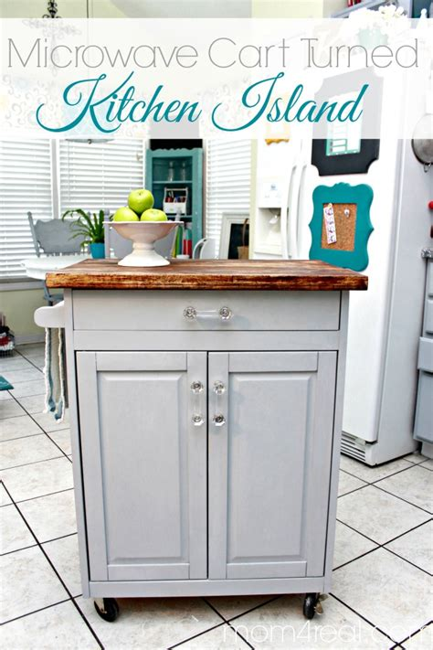 Microwave Cart Turned Kitchen Island Mom 4 Real | microwave cart turned kitchen island mom 4 real