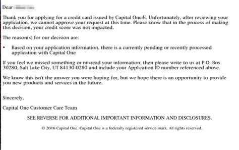 Credit Card Application Declined Letter Capital One Tightens Their Credit Card Churning Doctor Of Credit