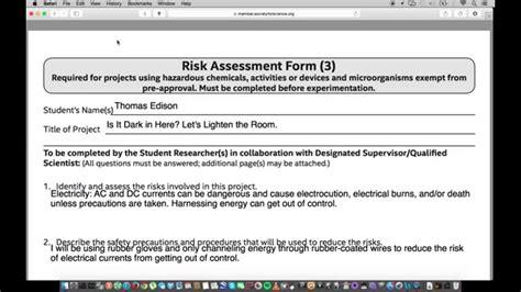 Isef Paperwork Help Form 3 Risk Assessment Form Youtube Identity Theft Risk Assessment Template