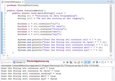 tutorial java method java string contains method