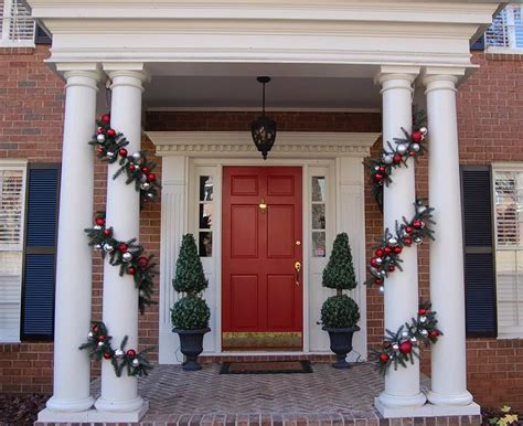 christmas decorating outdoor columns decorating ideas for your porch