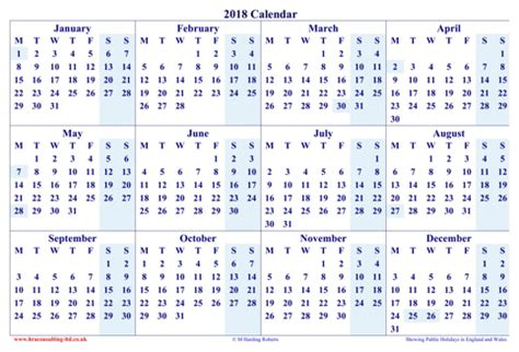 Calendar 2018 Excel Yearly Yearly Calendar 2018 For Excel Pdf And Word