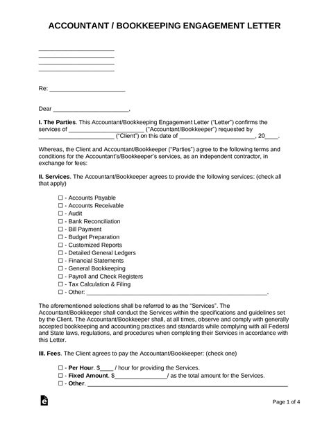 accountant bookkeeping engagement letter