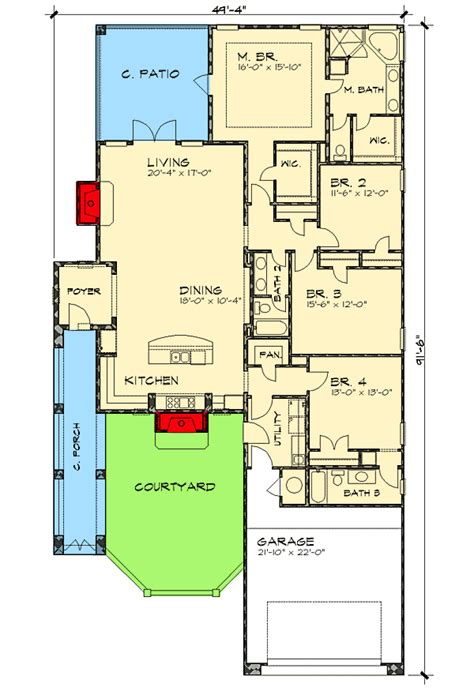 narrow lot courtyard home plan 36818jg 1st floor