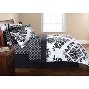 Queen teen french modern black white damask comforter bed in a bag