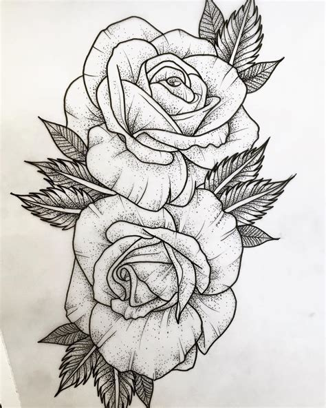 roses outline tattoo available tattooapprentice tattooapprenticeuk dotwork