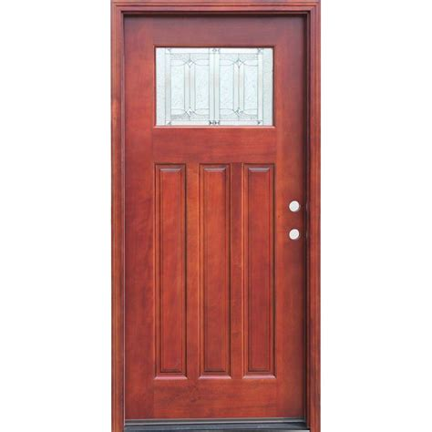 hardwood doors exterior pacific entries 36 in x 80 in craftsman 1 lite stained mahogany wood prehung front door with 6