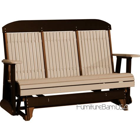 porch bench glider luxcraft polywood outdoor 5 foot highback glider bench