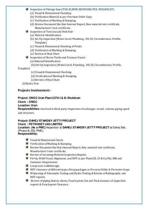 2016 Resume Of Rajeev Kumar Inspection Engineer Surveyor 1 Pressure Vessel Inspection Report Template