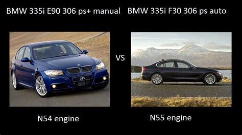 bmw 335i e90 n54 vs bmw 335i f30 n55 engine acceleration