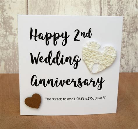 Wedding Anniversary Gifts 2nd Year by 2nd Wedding Anniversary Gift Cotton Script Card Ebay