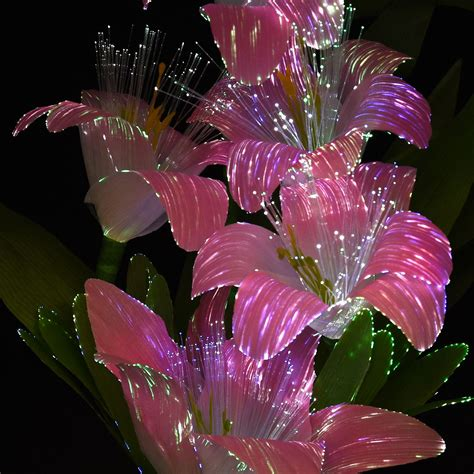 Flowers With Lights In Vase by Rgb Colour Changing Led Fibre Optic Flower Vase Display