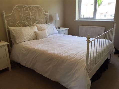 leirvik bed frame hack ikea leirvik white metal bed frame in aldershot