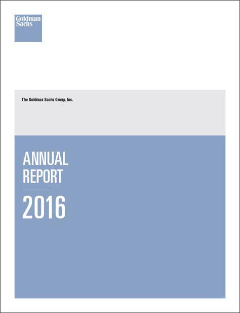 2016 Annual Report by Goldman Sachs Financials