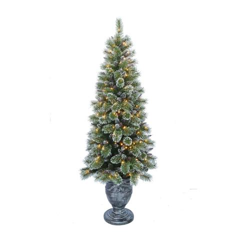 what artificial pre lit chridtmas are at home depot home accents 6 5 ft indoor pre lit sparkling pine porch artificial tree