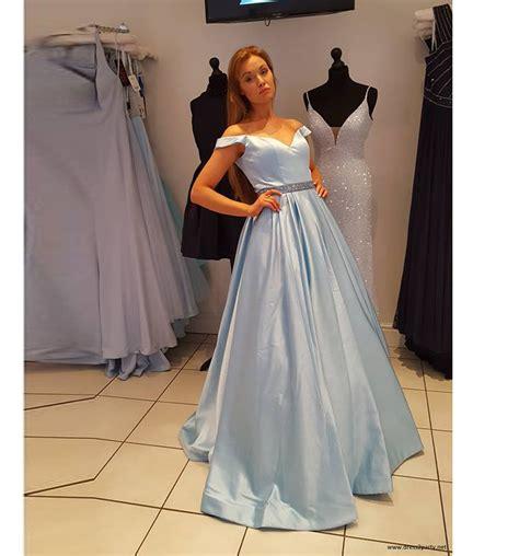 light blue off the shoulder dress light blue prom dress off the shoulder pageant gown a line