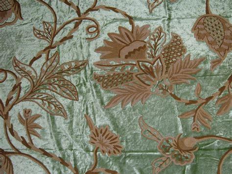 victorian upholstery fabric crewel fabric flora light green cotton viscose velvet