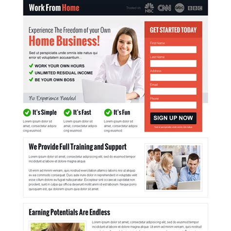 work from home website templates work from home landing