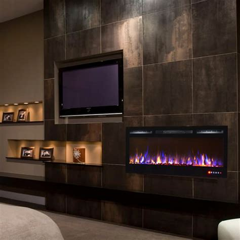 electric in wall fireplace 35 inch built in ventless recessed wall mounted electric fireplace multi color