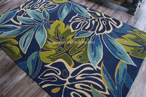 coastal rug runners 2x8 2 6 quot x 8 6 quot runner tropical coastal palms blue indoor outdoor rug ebay
