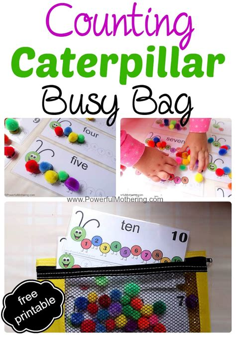 printable toddler busy bags counting caterpillar busy bag printable numbers 1 10